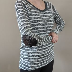 Velvet elbow patch striped Cato sweater